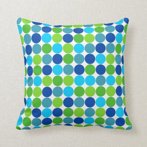 Almohada del diseñador del lunar del verde azul