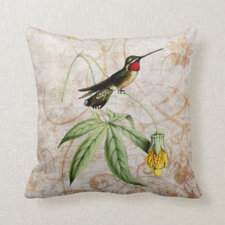Almohada del Grunge del vintage del colibrí de la Cojín Decorativo