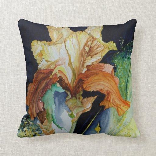 Almohada del iris anaranjado y amarillo