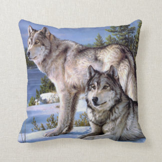Almohada del lobo del invierno cojín decorativo