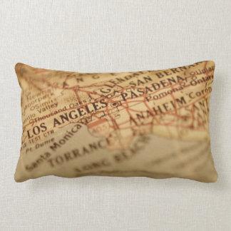 Almohada del Lumbar del mapa del vintage de Los Án