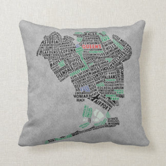 Almohada del mapa de la tipografía del Queens NY