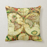 Almohada del mapa del mundo 1594 del vintage