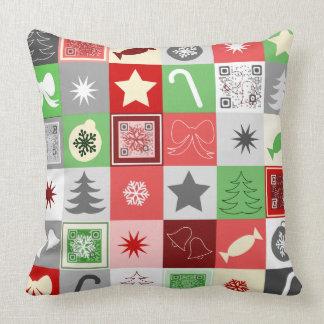 Almohada del navidad de QRcode con saludos video Cojín Decorativo