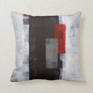 Almohada del negro, gris y roja del arte abstracto