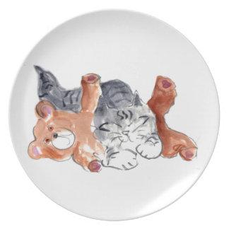 Almohada del oso del peluche del gatito plato para fiesta