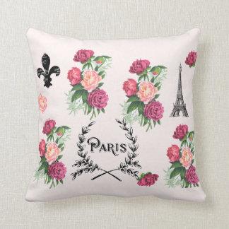 Almohada del rosa de rosas del vintage de París