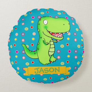 almohada del sitio del niño del t-rex del dibujo cojín redondo