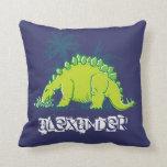 Almohada del verde azul del Stegosaurus del