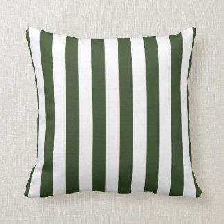Almohada del verde caqui y blanca de las rayas