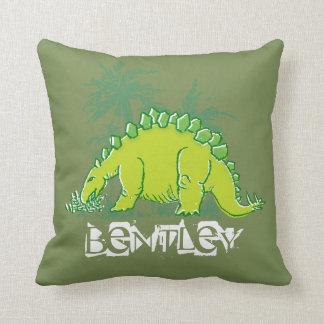 Almohada del verde del Stegosaurus del dinosaurio