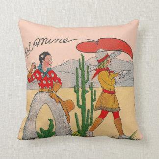 Almohada del vintage del amor del vaquero