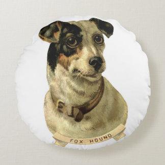 Almohada del vintage del perro del Fox Cojín Redondo