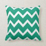 Almohada del zigzag con el verde esmeralda Chevron