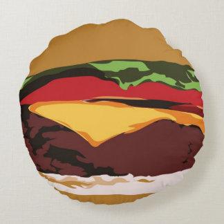Almohada deliciosa de la hamburguesa cojín redondo