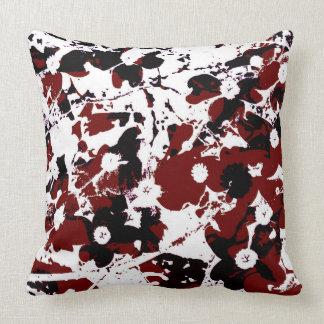 Almohada-Diseño negro/rojo/blanco 1 del flor Cojines