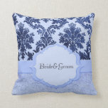 Almohada elegante azul de lujo del damasco