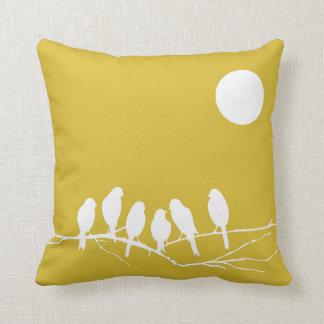 Almohada en la impresión del pájaro del amarillo cojín decorativo