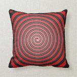 Almohada espiral hipnótica roja y negra