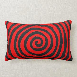 Almohada espiral roja y   negra del Lumbar del