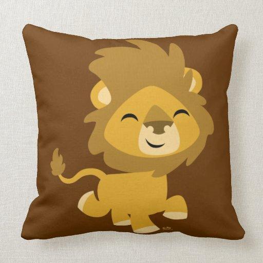 Almohada feliz linda del león del dibujo animado de Zazzle.