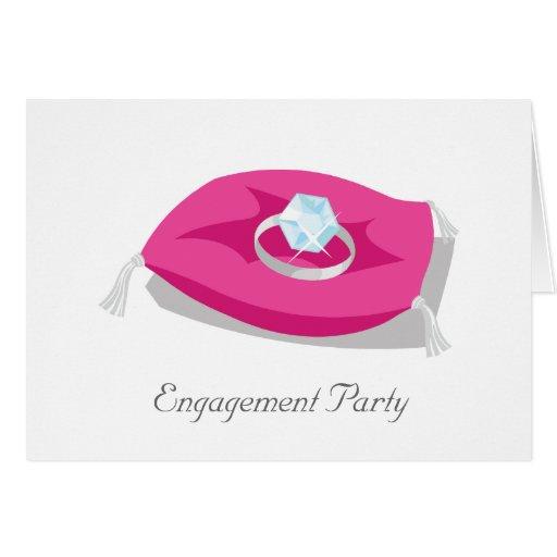 almohada, fiesta de compromiso tarjeta de felicitación