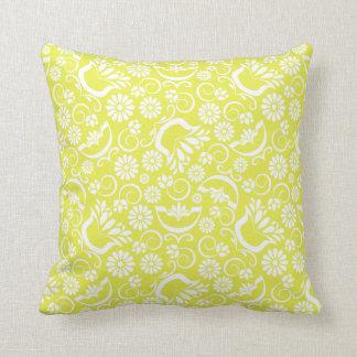 Almohada floral amarilla del vintage cojín decorativo