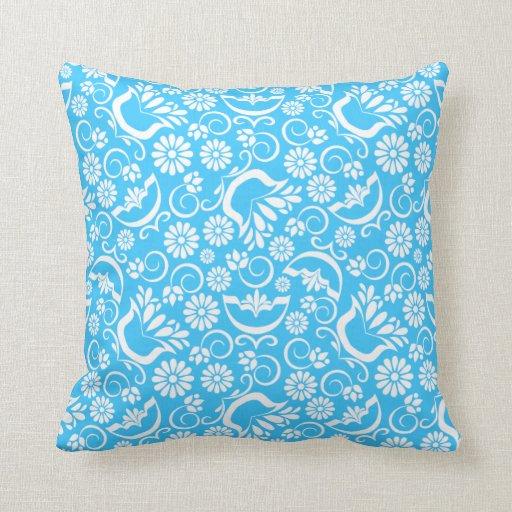 Almohada floral azul del vintage