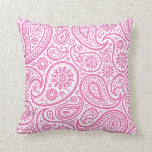 Almohada floral blanca rosada de Paisley