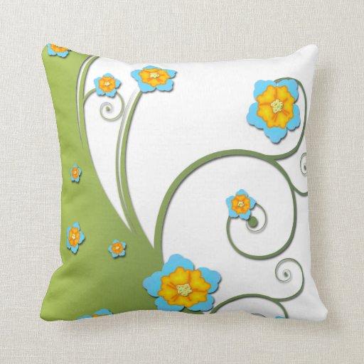 Almohada floral del diseño del vector en verde y b