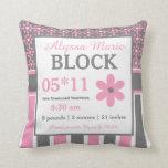 Almohada floral gris rosada de la invitación del b