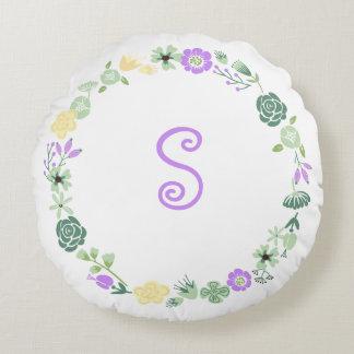 Almohada floral verde púrpura amarilla del cojín redondo