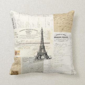 Almohada francesa de las Ephemeras de París del vi
