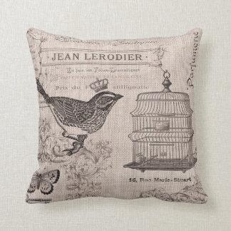 Almohada francesa del pájaro del vintage