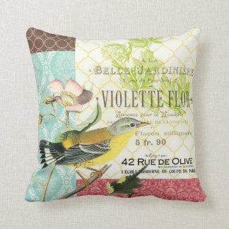 Almohada francesa del pájaro del vintage moderno