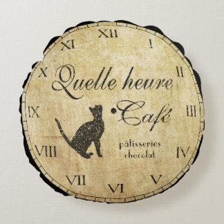 Almohada francesa del reloj del café del vintage cojín redondo