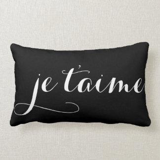 Almohada francesa negra y blanca de la caligrafía