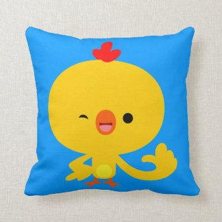 Almohada fresca linda del pollo del dibujo animado