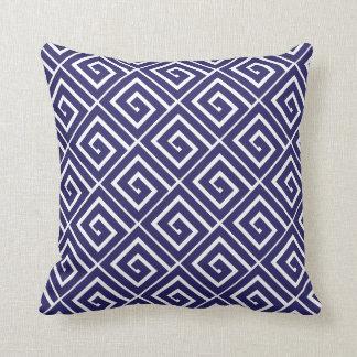 Almohada griega azul de los espirales