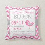 Almohada gris rosada de la invitación del bebé del