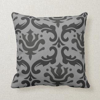 Almohada gris y negra del damasco gigante