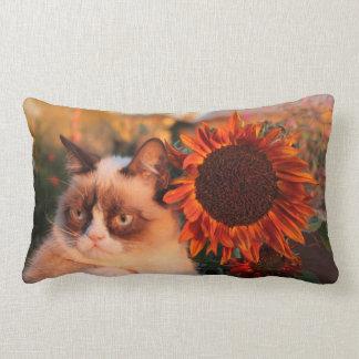 Almohada gruñona del girasol del gato