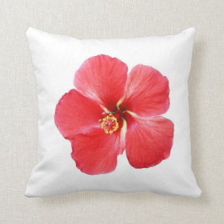 Almohada hawaiana roja de la flor del hibisco