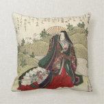 Almohada japonesa hermosa de las ilustraciones del