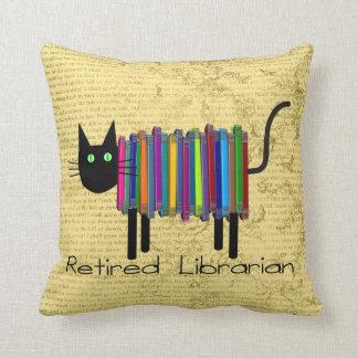Almohada jubilada del gato del libro del bibliotec