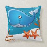 Almohada linda acuática de la ballena del océano