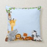 Almohada linda azul de los animales del bebé de la
