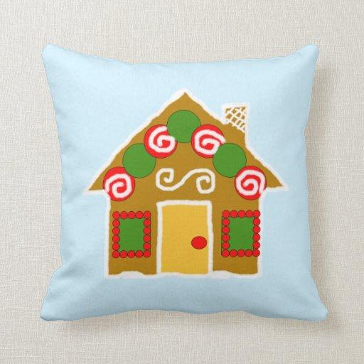 Almohada linda de la casa de pan de jengibre del
