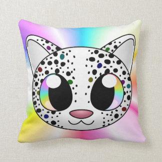 Almohada linda del leopardo del arco iris (persona