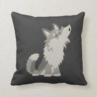 Almohada linda del lobo del dibujo animado del gri